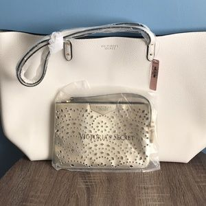 Large leather tote with matching wristlet